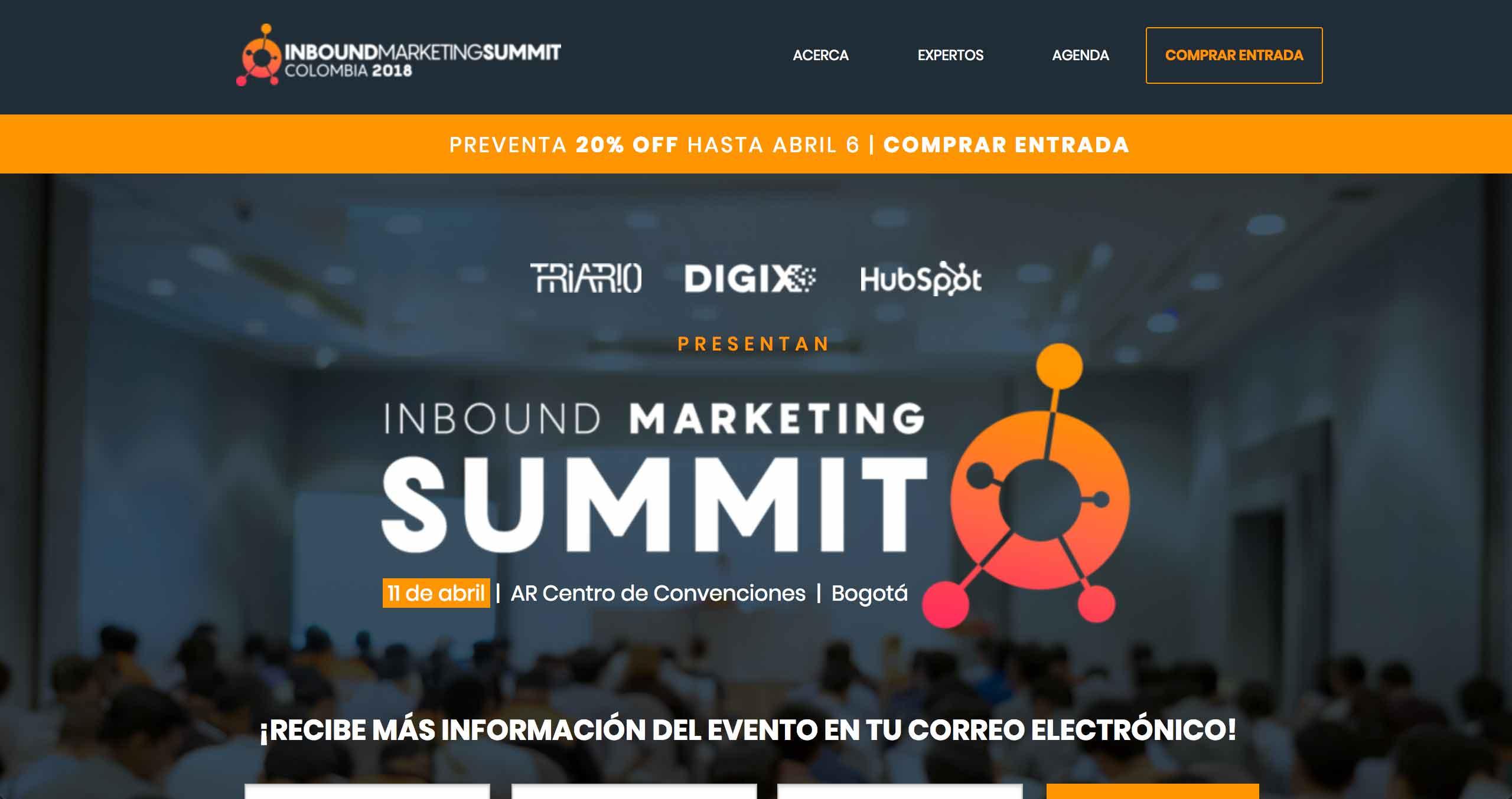 landing page evento marketing inbound marketing summit colombia 2018