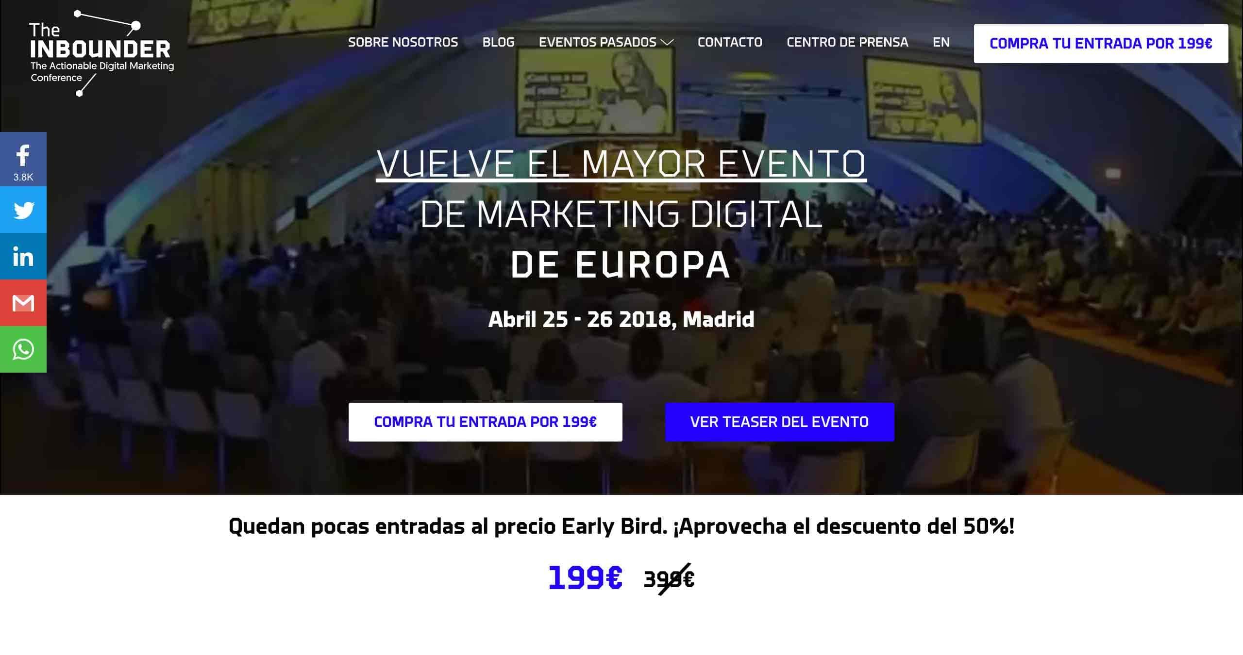 landing page evento marketing digital madrid the inbounder