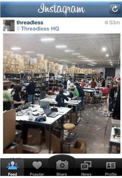 Threadless customer service on instagram
