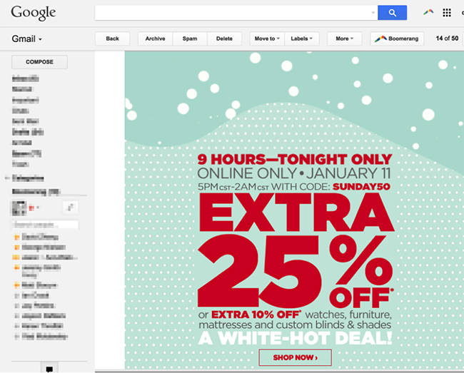 5. Email designed as a landing page