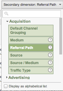 Referral Path Report Google Analytics