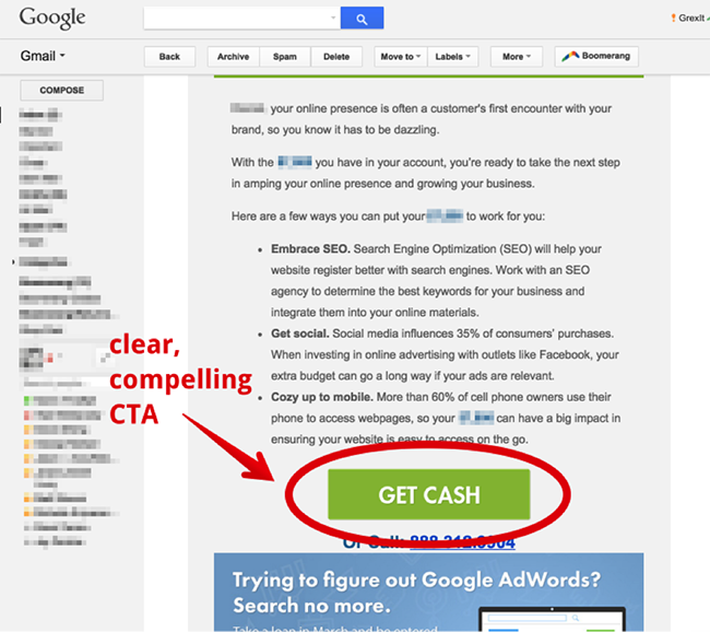 8. Example of having a storng CTA in email marketing