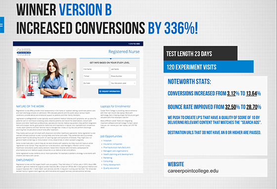 AB Test increased conversion by 336% - Champion Variant