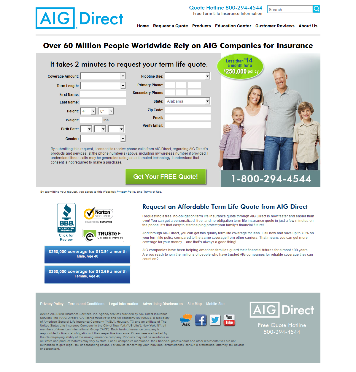 Aig Term Life Insurance Quote Fluff Is Thy Foe 6 Insurance Landing Page Examples & Critiques