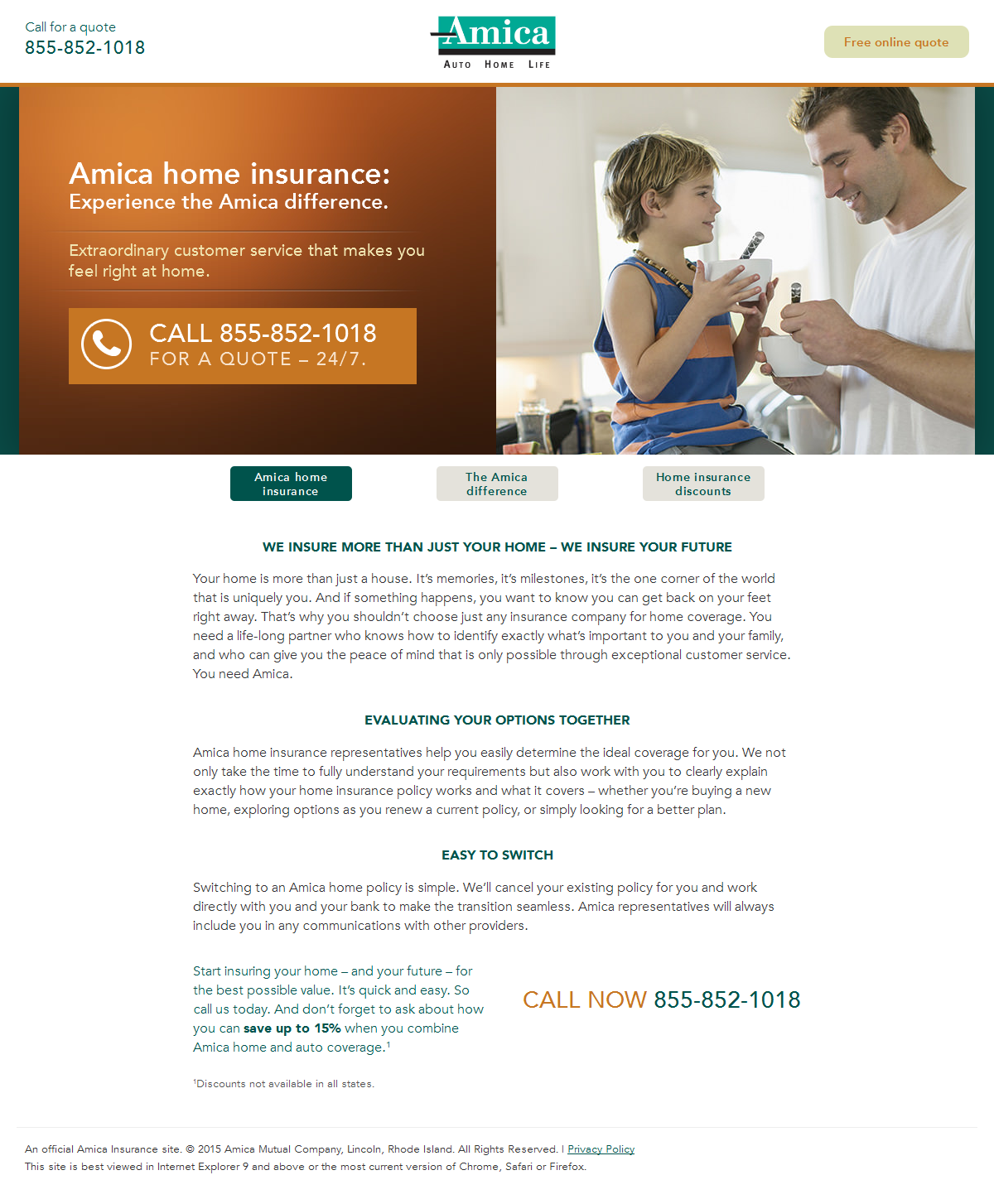 Amica Life Insurance >> Fluff Is Thy Foe 6 Insurance Landing Page Examples Critiques