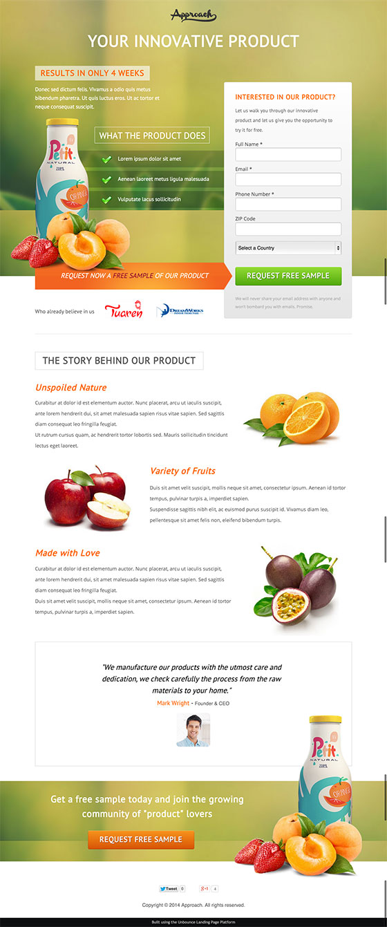 Approach-landing-page