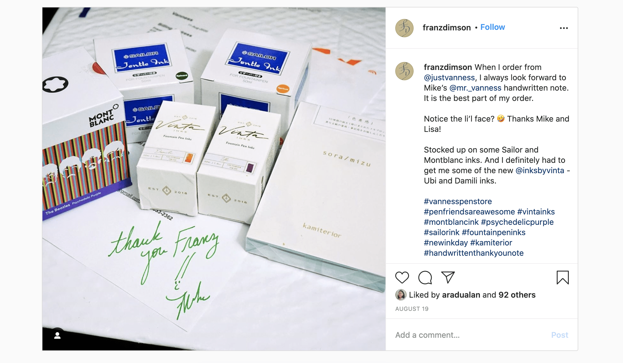 A customer posting about a handwritten thank you note on Instagram