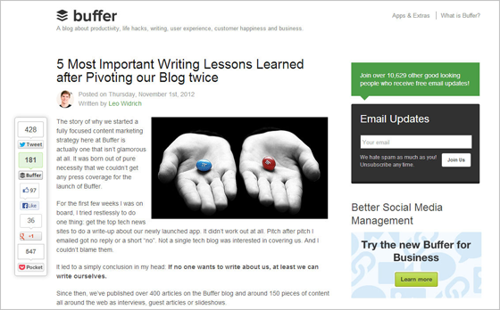 Buffer pivoted blog twice