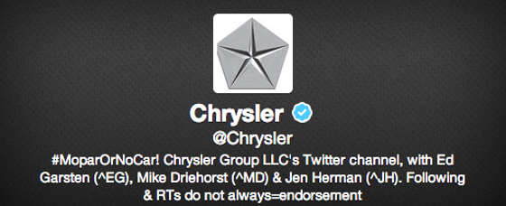 Chrysler Twitter Bio