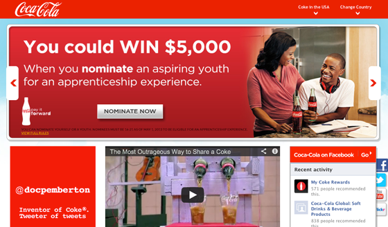CocaCola Landing Page Color