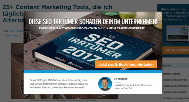 Content Marketing Tools_Unbounce Pop-ups Sticky Bars