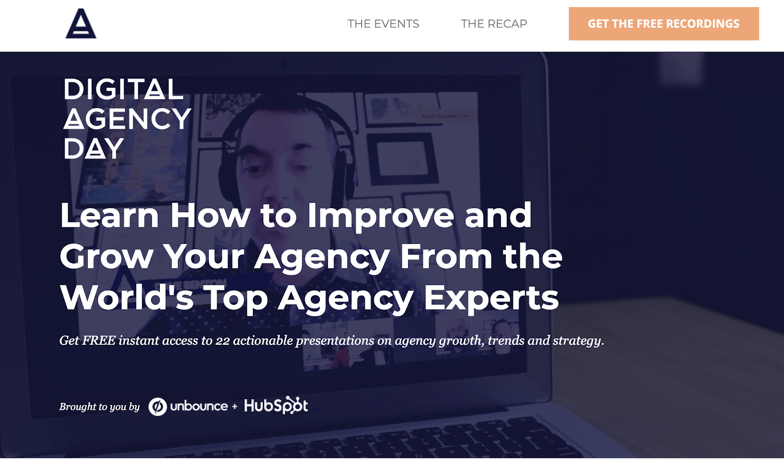 A webinar example by Unbounce: Digital Agency Day