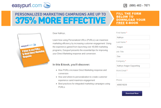 Easypurl Email Campaign Landing Page