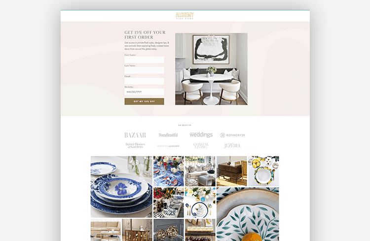 Ecommerce Landing Page Alchemy Fine Home