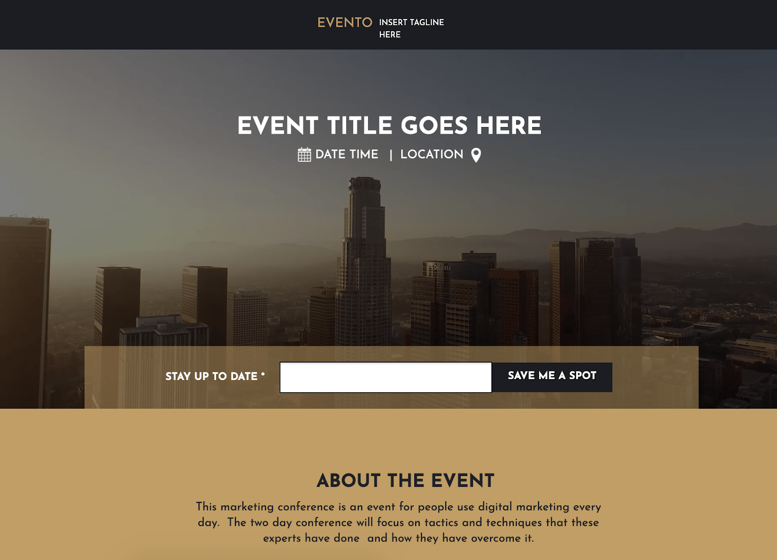 Landing Page Template for Virtual Events and Webinars