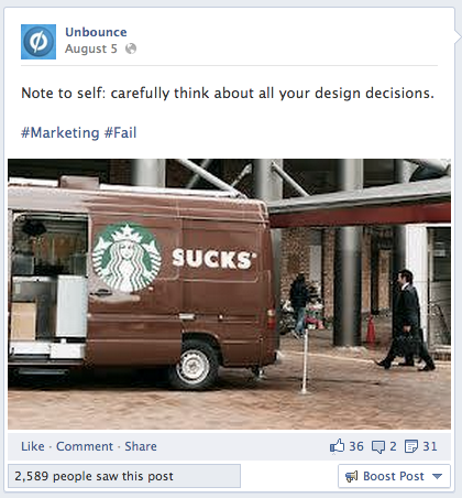 Facebook Engagement Tactics - Marketing Fail