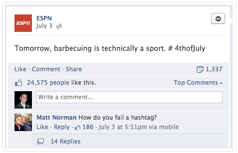 Facebook Hashtag Fail