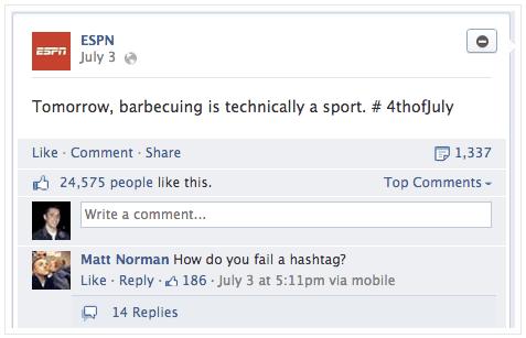 Facebook Hashtag Fail