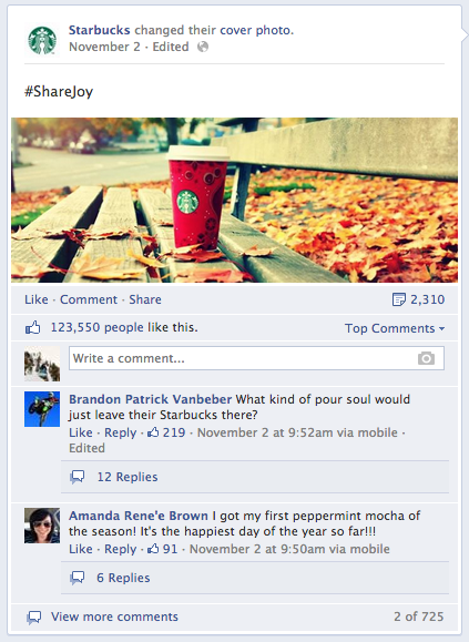 Facebook engagement tactics - share joy hashtag