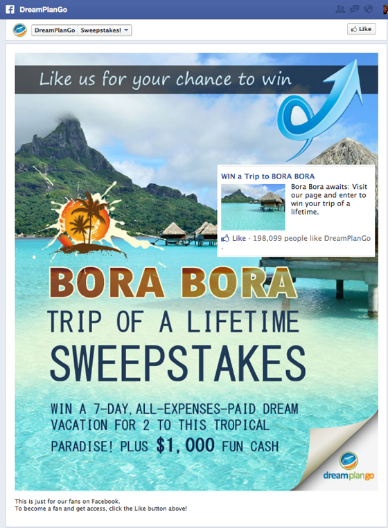 Facebook landing pages Bora Bora