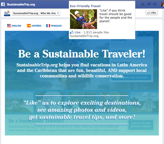 Facebook landing pages Sustainable Traveler