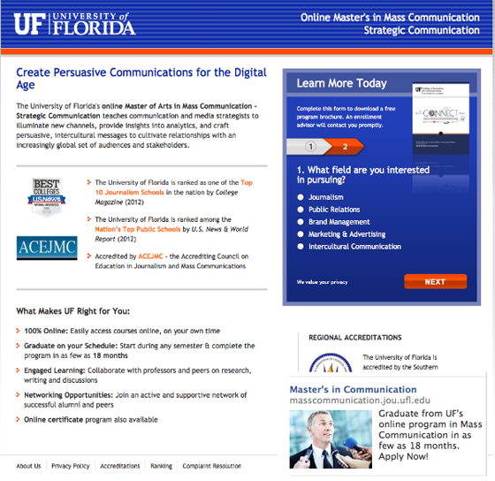 Facebook landing pages University of Florida