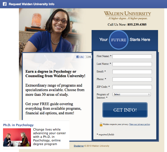 Facebook landing pages Walden University