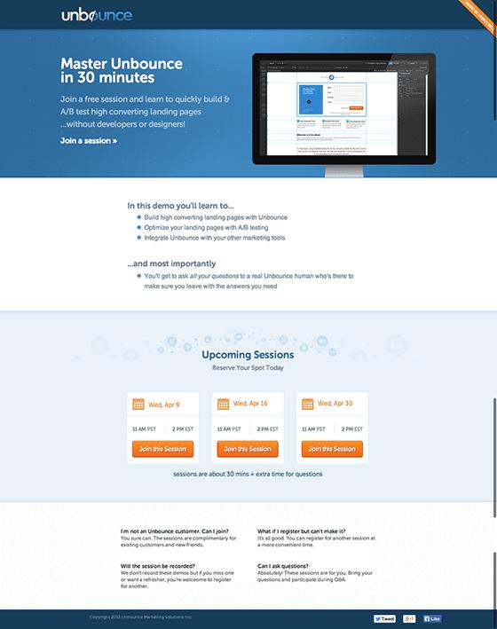 Final Unbounce Webinar Demo Landing Page