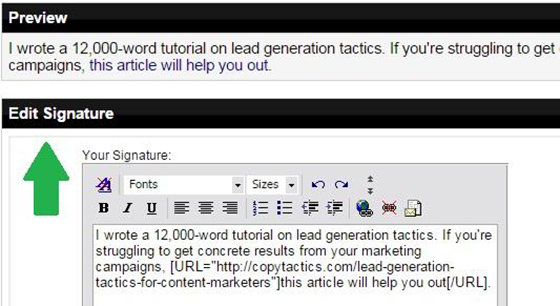 Forum Marketing Signature