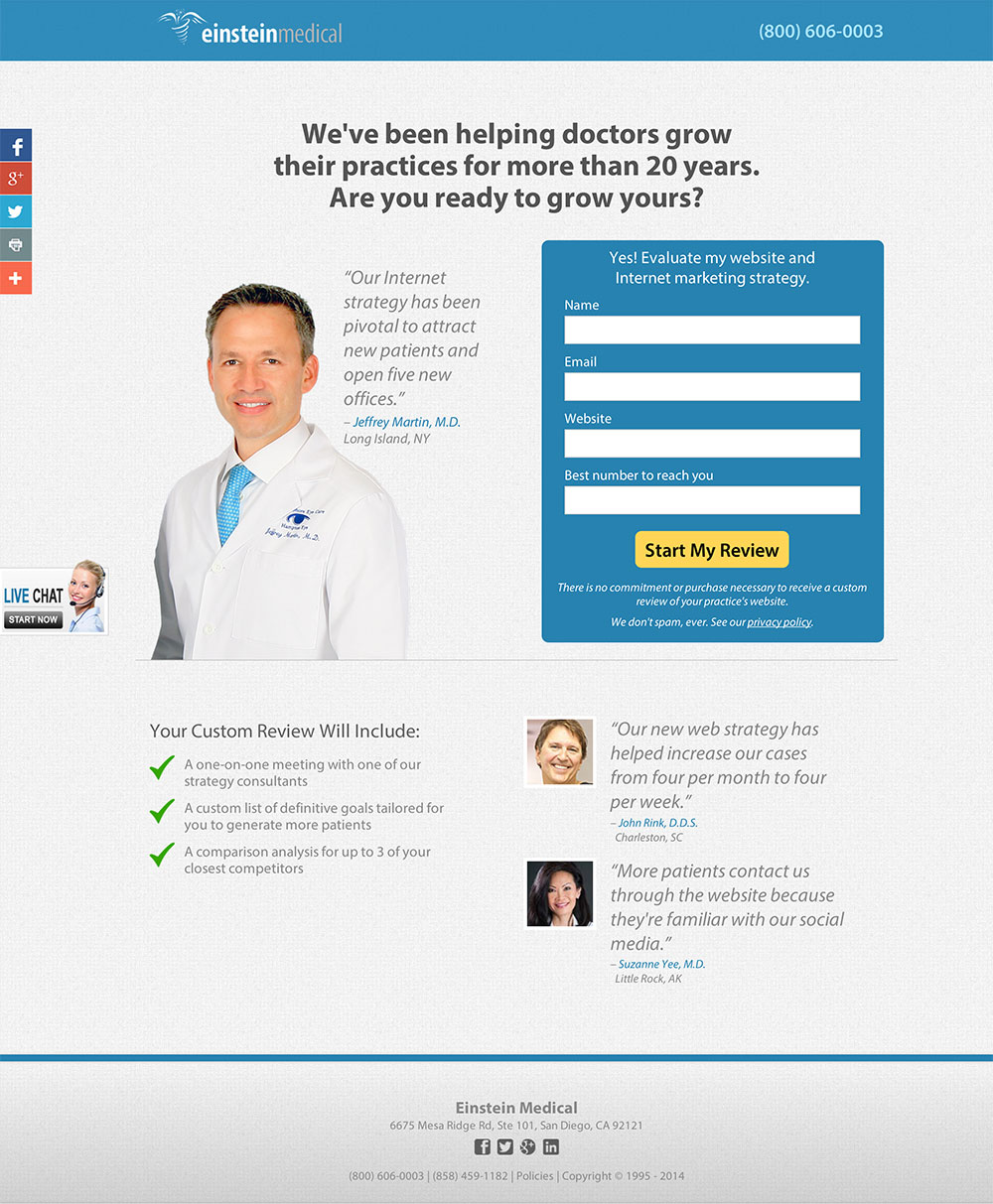 Landing Page Reviews That Show Why Clarity Is The Key To Conversion - Medical landing page template