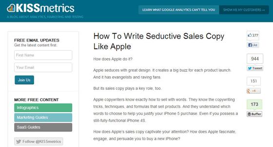 KISSmetrics blog that doesn't sell