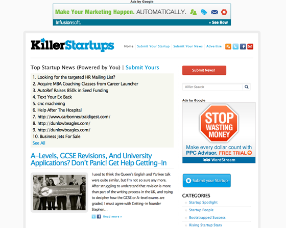 KillerStartups Homepage