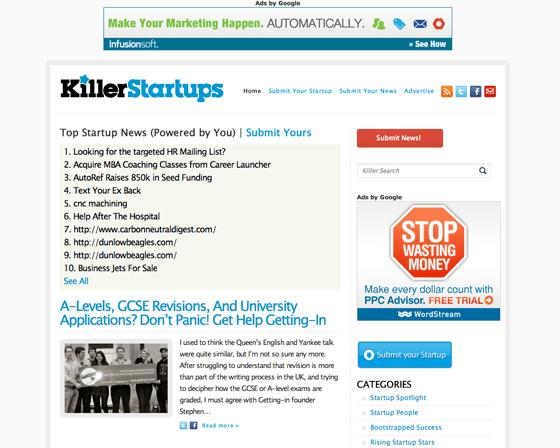 KillerStartups Homepage
