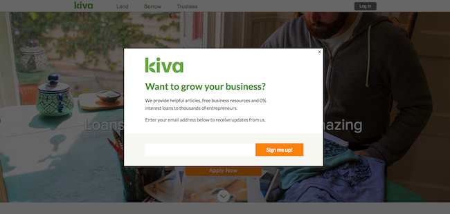 Kiva Homepage Unbounce Convertable