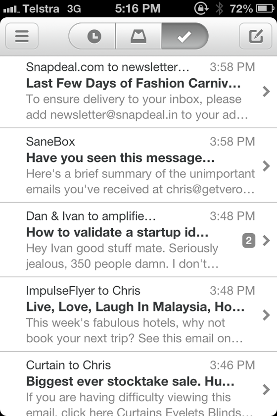 Mailbox Mobile Format Example - Email Subject Line
