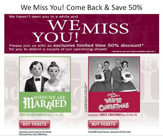 MarketingSherpa Denver Performing Arts Email