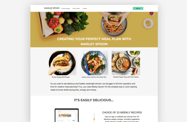 Ecommerce Landing Page: Marley Spoon