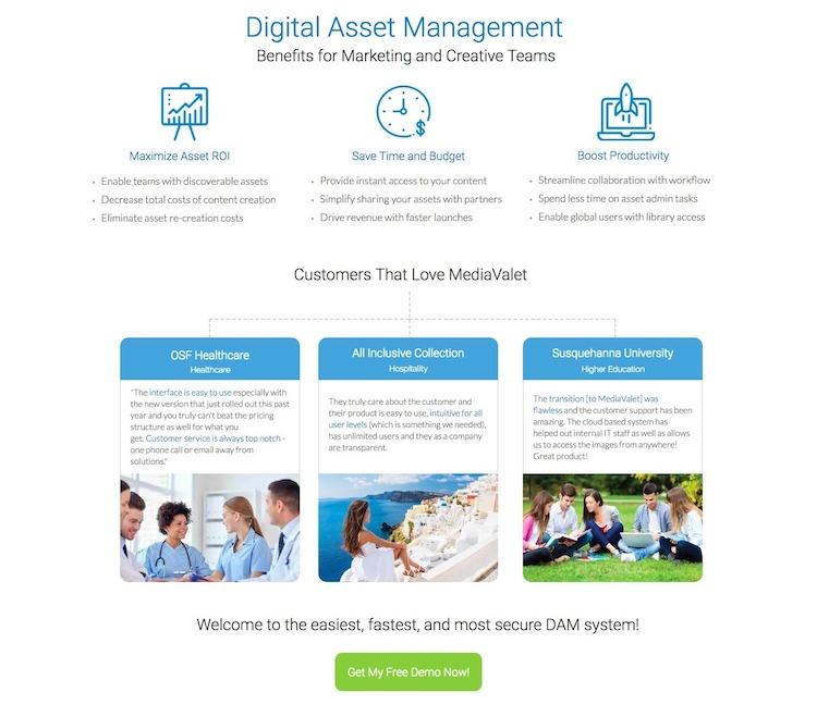 MediaValet Landing Page