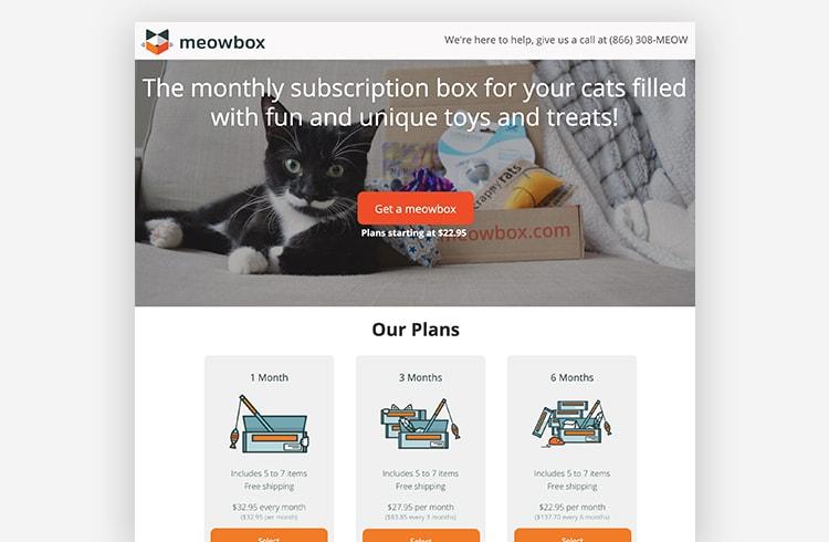 Ecommerce Landing Page: Meowbox