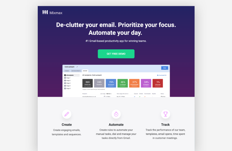 SaaS Landing Page Example: Mixmax
