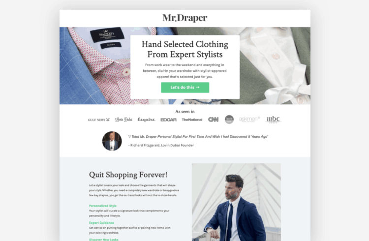 Ecommerce Landing Page: Mr. Draper