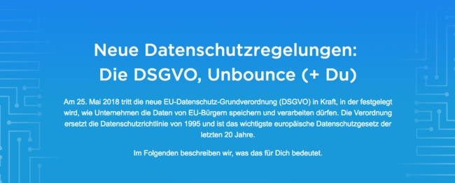 Neue Datenschutzregelungen-DSGVO, Unbounce-Sicherheit