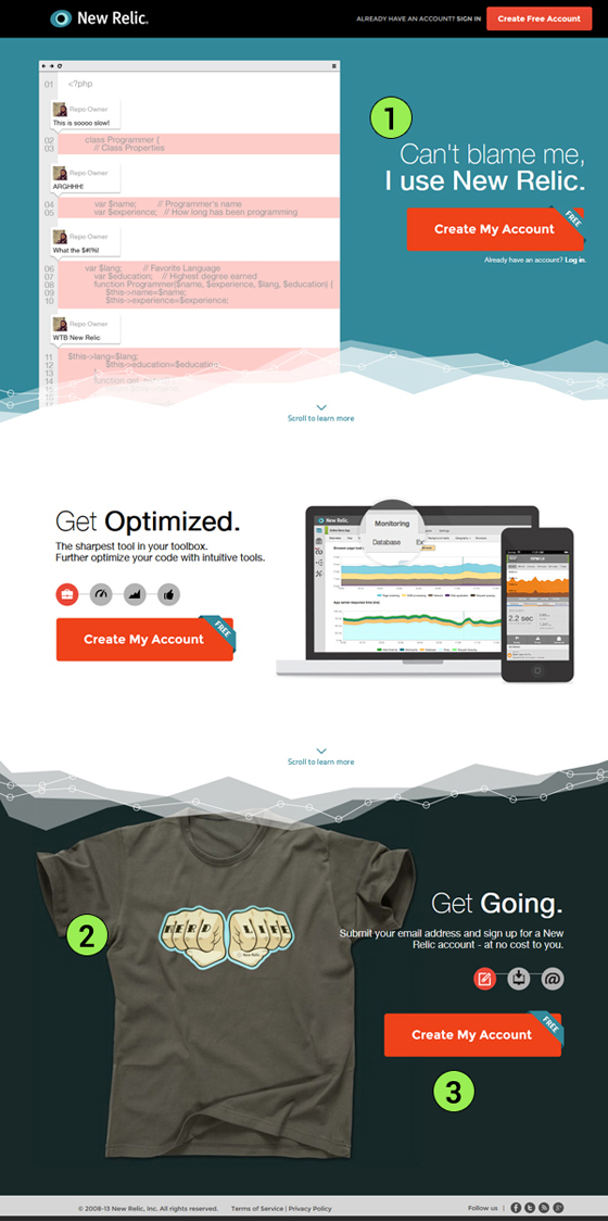 New Relic Landing Page