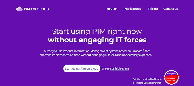 PIM on Cloud Landing Page