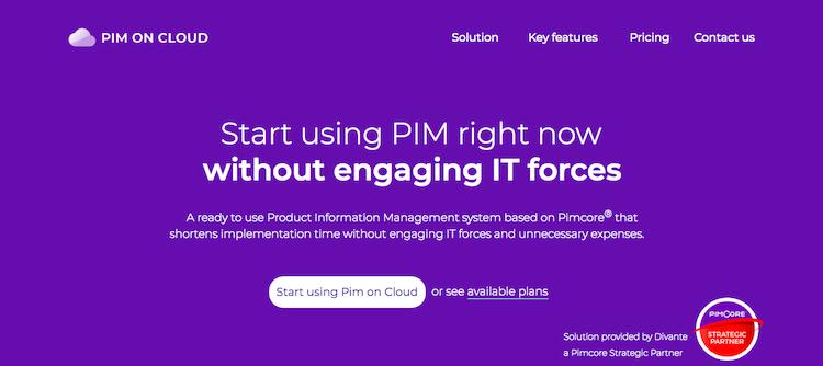 PIM on Cloud Landing Page