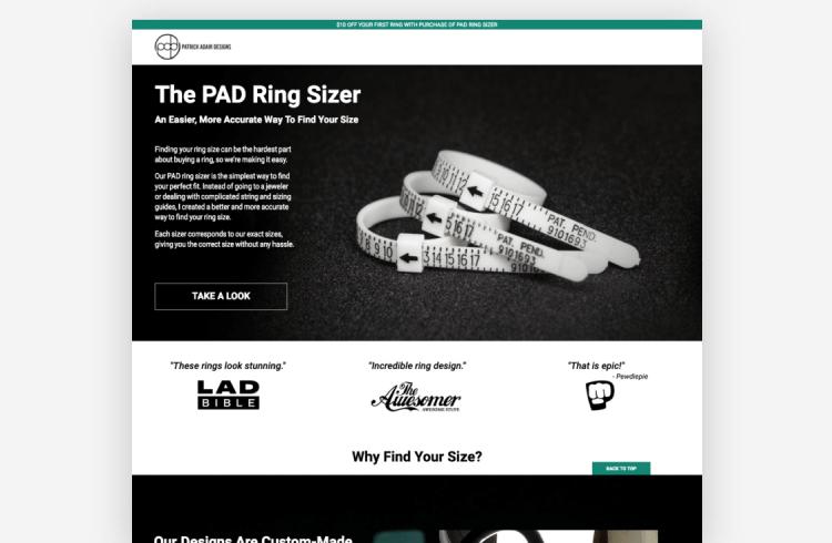 Ecommerce Landing Page: Patrick Adair Designs