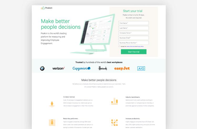SaaS Landing Page Example: Peakon