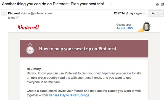 Behavioral E-Mail von Pinterest zur Optimierung der Retention