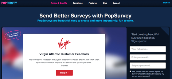 PopSurvey Landing Page Colors