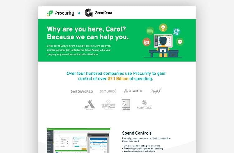 SaaS Landing Page Example - Procurify (ABM)
